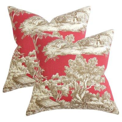 Nataliya Toile Cotton Throw Pillow Color: Red