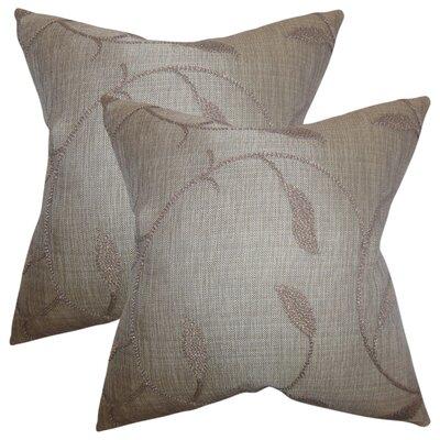 Ettore Floral Cotton Throw Pillow Color: Dark Gray