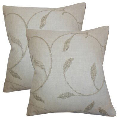 Ettore Floral Cotton Throw Pillow Color: Linen