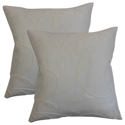 Ettore Floral Cotton Throw Pillow Color: Pearl