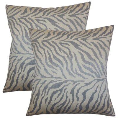 Woroud Zebra Print Throw Pillow Color: Slate