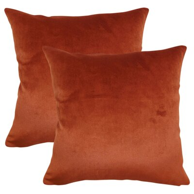 Elin Solid Cotton Throw Pillow Color: Rust