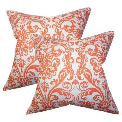 Chessani Damask Cotton Throw Pillow Color: Orange