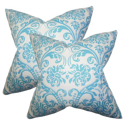 Chessani Damask Cotton Throw Pillow Color: Sky Blue