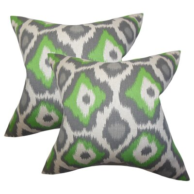 Studley Ikat Cotton Throw Pillow Color: Green