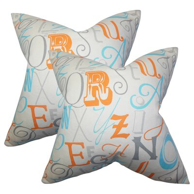Rowles Typography Cotton Throw Pillow Color: Orange