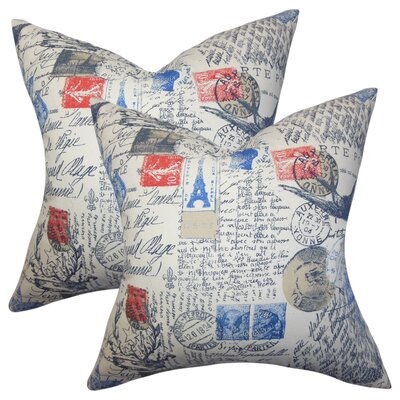 Amaker Typography Cotton Throw Pillow Color: Red