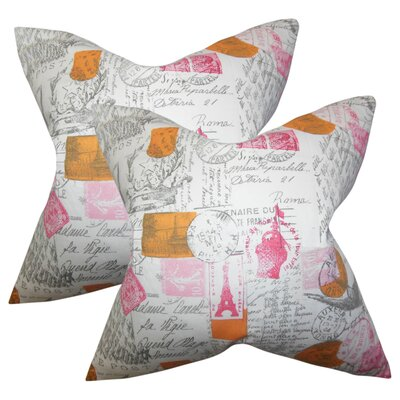 Amaker Typography Cotton Throw Pillow Color: Pink