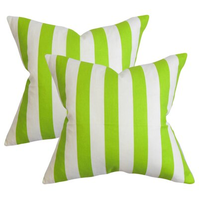 Staples Stripes Cotton Throw Pillow Color: Chartreuse