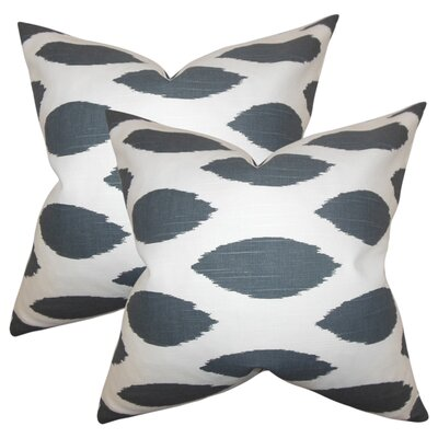 Witten Ikat Cotton Throw Pillow Color: Dark Gray