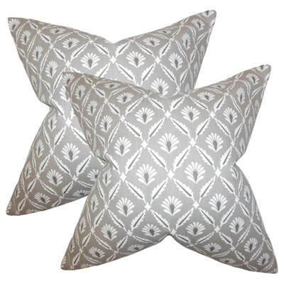 Skinner Geometric Cotton Throw Pillow Color: Steel