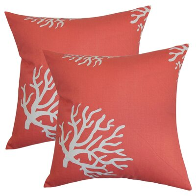 Dredgers Coral Cotton Throw Pillow