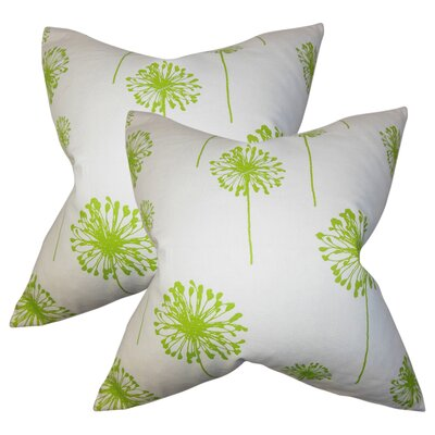 Wittman Floral Cotton Throw Pillow Color: Green