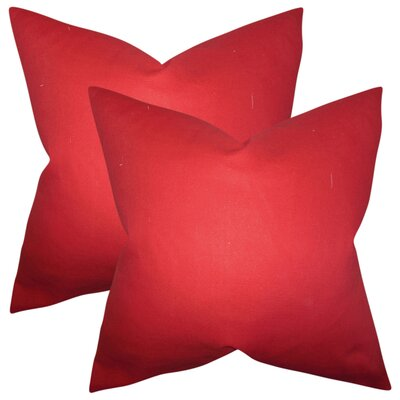Desma Solid Cotton Throw Pillow Color: Red