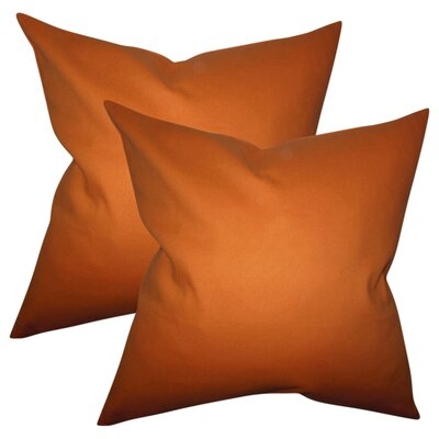 Desma Solid Cotton Throw Pillow Color: Orange