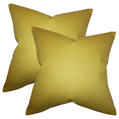 Desma Solid Cotton Throw Pillow Color: Yellow