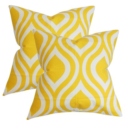 Aiello Geometric Cotton Throw Pillow Color: Yellow