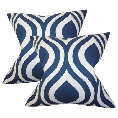 Aiello Geometric Cotton Throw Pillow Color: Navy Blue