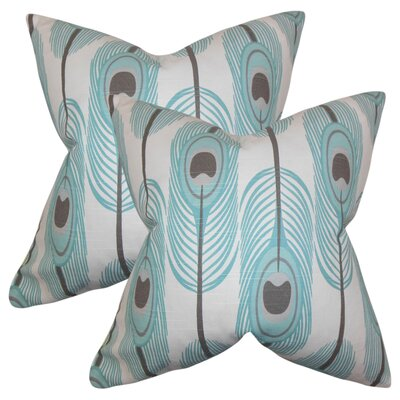 Russo Feather Cotton Throw Pillow Color: Blue