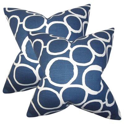 Woodlynne Geometric Cotton Throw Pillow Color: Blue