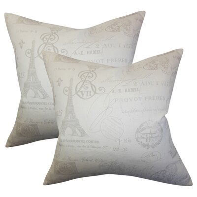 Bevis Typography Cotton Throw Pillow Color: Gray