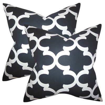Chitwood Geometric Cotton Throw Pillow Color: Black