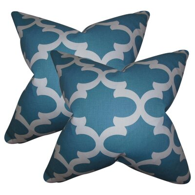 Chitwood Geometric Cotton Throw Pillow Color: Blue