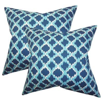 Geno Geometric Cotton Throw Pillow Color: Blue