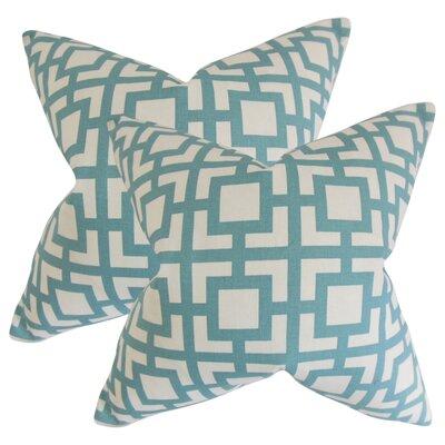 Packer Geometric Cotton Throw Pillow Color: Light Blue