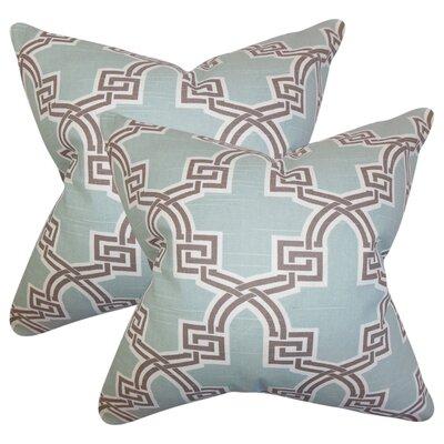 Danniel Geometric Cotton Throw Pillow Color: Blue