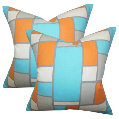 Briley Geometric Cotton Throw Pillow Color: Orange