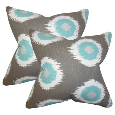 Lemos Ikat Cotton Throw Pillow Color: Gray