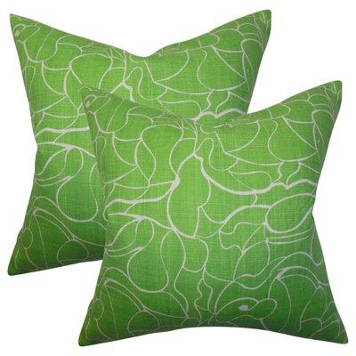 Wilsey Floral Cotton Throw Pillow Color: Green