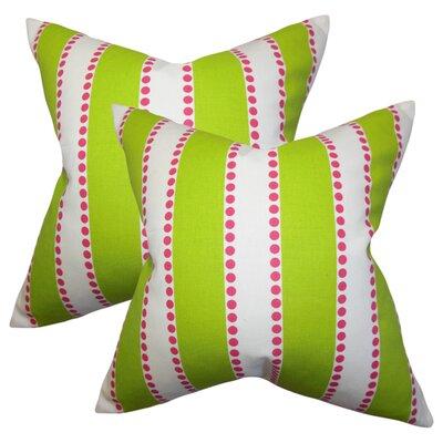 Rolston Stripes Cotton Throw Pillow Color: Green