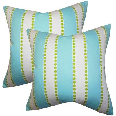 Rolston Stripes Cotton Throw Pillow Color: Light Blue