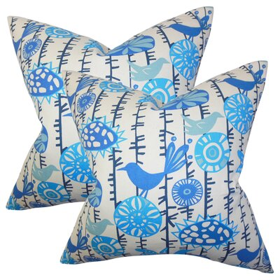 Ruelas Floral Cotton Throw Pillow Color: Light Blue