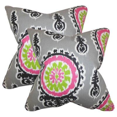 Rueter Ikat Cotton Throw Pillow Color: Gray