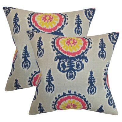 Rueter Ikat Cotton Throw Pillow Color: Birch