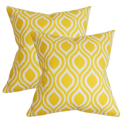 Wolff Geometric Cotton Throw Pillow Color: Yellow