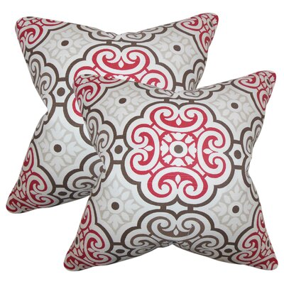 Robb Geometric Cotton Throw Pillow Color: Red