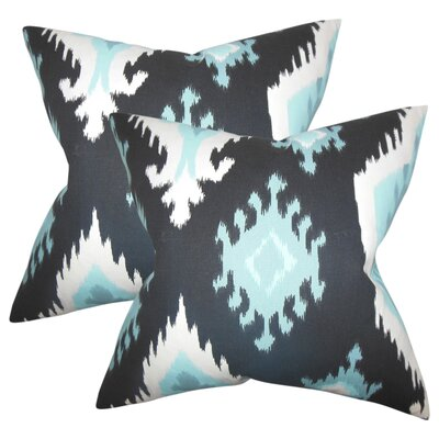 Merganser Ikat Cotton Throw Pillow Color: Black/Blue