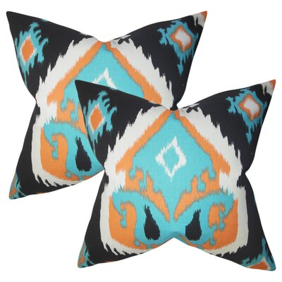 Merganser Ikat Cotton Throw Pillow Color: Orange