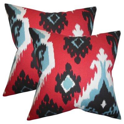 Merganser Ikat Cotton Throw Pillow Color: Red