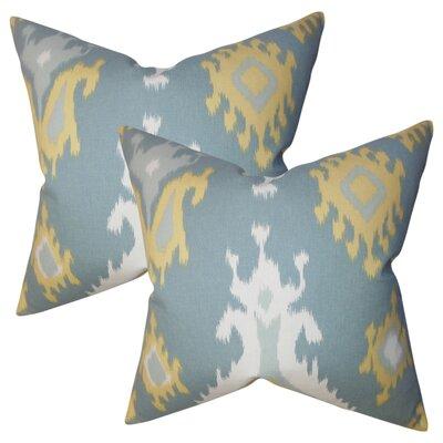 Merganser Ikat Cotton Throw Pillow Color: Light Blue/Yellow