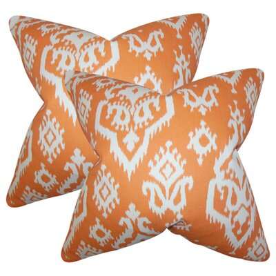 Taha Ikat Cotton Throw Pillow Color: Orange