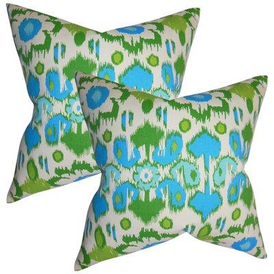 Rayyan Ikat Cotton Throw Pillow Color: Light Blue