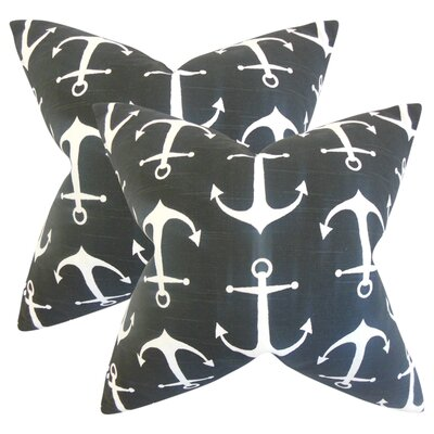 Akole Coastal Cotton Throw Pillow Color: Black