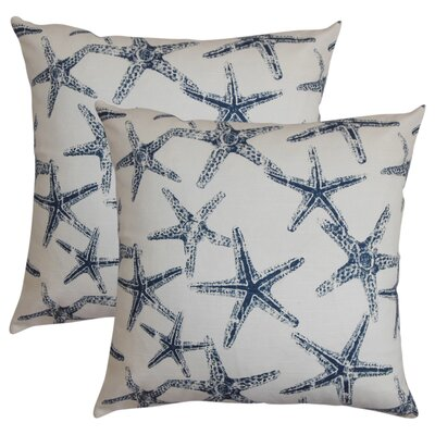 Begonia Coastal Cotton Throw Pillow Color: Navy