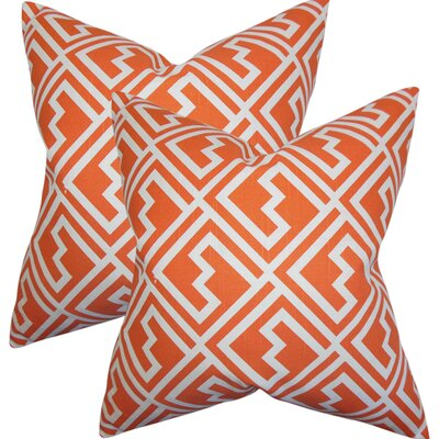 Rhames Geometric Cotton Throw Pillow Color: Orange