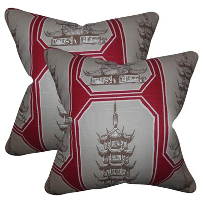 Wapwanga Cotton Throw Pillow Color: Red